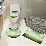 lacencn Soccer Non Slip Bath Shower Rug Illuminated Stadium at Night View Football Arena Activity Grass Playground Picture Print U-shaped Toilet Mat Green