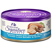 Wellness Signature Selects Natural Canned Grain Free Wet Cat Food, Shredded Chicken & Chicken Liver, 5.3-Ounce Can (Pack of 24)