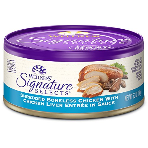 Wellness Signature Selects Natural Canned Grain Free Wet Cat Food, Shredded Chicken & Chicken Liver, 5.3-Ounce Can (Pack of 24) (Canned Wellness Cat Food compare prices)