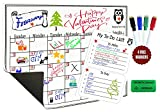 Monthly Planner Magnetic Calendar for Refrigerator Dry Erase Board 16'' x 12'' Set Includes: Refrigerator calendar magnet 4 markers My to do list Shopping list and eraser