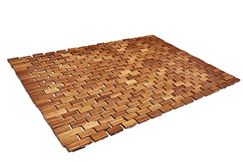 Square Teak Bench - Soothing Styles Handcrafted Folding Teak Shower Mat | Mildew Resistant Teak Bath Mat with Non Slip Grips | Easily Rolls Up for Use Inside Or Outside of The Bathtub Or Shower