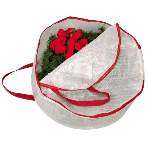 Household Essentials 24-Inch Circular Wreath Storage Bag, Clear with Red Trim
