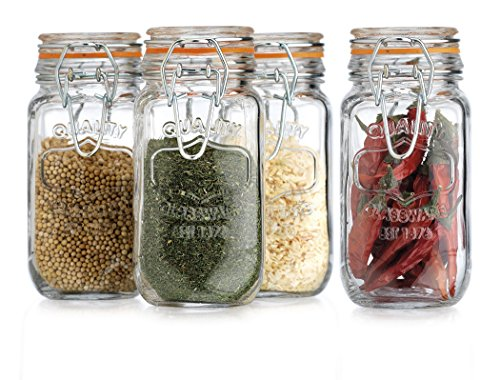 HC Elegant Home Airtight Glass Spice Jar Hermetic Seal Bail & Trigger/Jar with Lid 6 Ounce Each Use As Spice Canister Set of 4 6 Ounce (Canister Spice Jar)