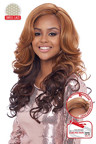BEYONCE STYLE LACE FRONT WIG WITH SWISS LACE ROMANCE CURL , LSD07 (1B - OFF - Style Beyonce