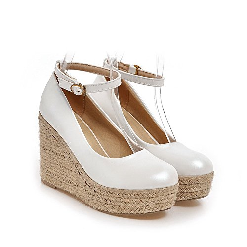 Weipoot Donne Di Della Pompe Chiuse Bianco shoes Elaborazione Fibbia Rotondo Dell'unità Delle Tacchi Punta Solido qfBqxA4