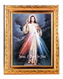 (57 7/18 DIVINE MERCY Fine Art Print Antique Gold Leaf Frame 8 x 10 Italian Lithograph Fine Detailed Scroll. Exclusive Paul Herbert Copyrighted Blessing Included. BASILICA Series