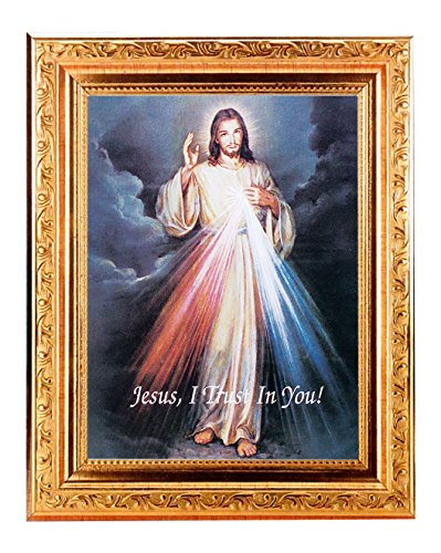 (57 7/18 DIVINE MERCY Fine Art Print Antique Gold Leaf Frame 8 x 10 Italian Lithograph Fine Detailed Scroll. Exclusive Paul Herbert Copyrighted Blessing Included. BASILICA -