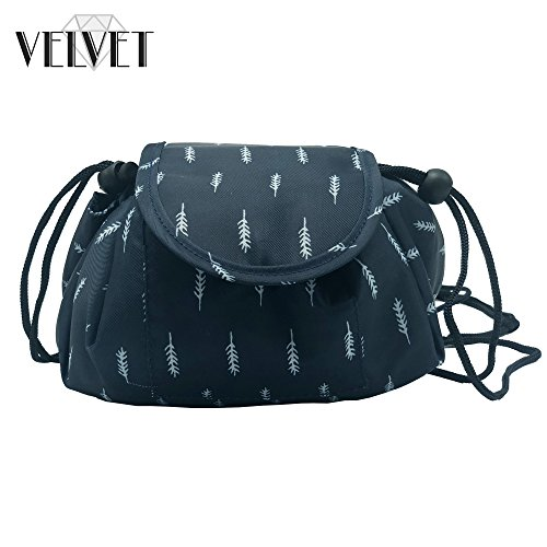 Toiletry Travel Bag | Lazy Drawstring Makeup Organizer with Magnetic Snap | Waterproof Cosmetic Pouch for Women, Men, Girls (Large 18 inches, Blue Feathers) by VelvetBags (Image #6)
