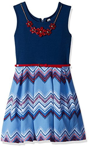 - Beautees Big Girls' Sl/Less Zig Zag Print Skater Dress, Blue, 12