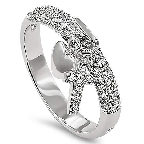 - 925 Hang Cross Silver Ring,