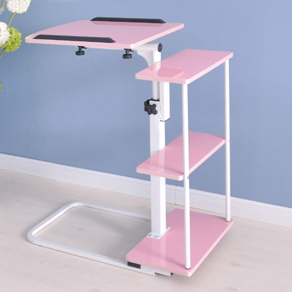 Tables XEWNG Desk Mobile Simple Lazy Laptop Desk Bed Computer Desk Foldable Bed Computer Desk (Color : Pink)