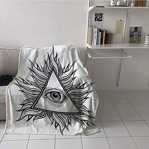 Khaki home Children's Blanket Digital Printing Print Digital Printing Blanket (50 by 70 Inch,Eye,Triangle Shape with Wavy Figures and All Seeing Eye Tattoo Style Spiritual Masonic,Black and White]()
