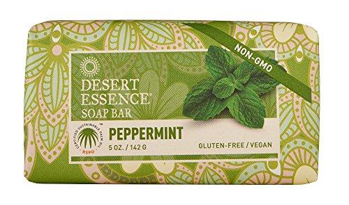 Desert Essence Organic Peppermint Bar Soap - 5 oz - 2 Pack - Contains Australian Tea Tree Oil, Palm Oil, Aloe Vera, Jojoba Oil - Cleanse and Soothes Skin - Rich Foaming Face Bar