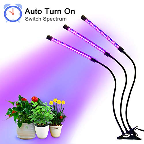 27W Plant Grow Light with Auto Turn On Function, Slitinto 54 LED Plant Grow Lamp with 3/6/12H Timer, 3-Head Divide Control Adjustable Gooseneck, 5 Dimmable Levels for Indoor Plants [Upgraded Switch]