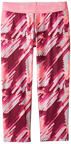 Under Armour Girls' HeatGear Armour Printed Capri, Beet/Pink Punk, Youth Large
