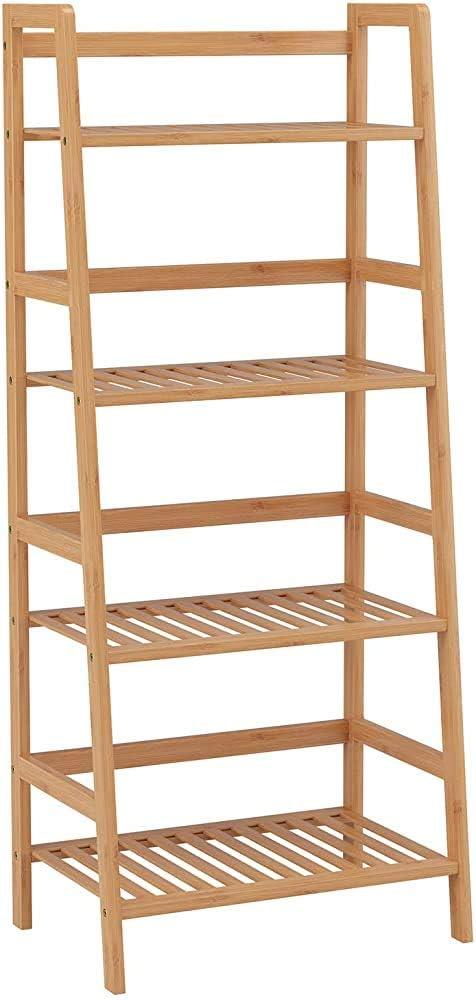 4-capa 115x48x32cm rack de almacenamiento de estante estante unidad de escalera de bambú estantería planta estante,A: Amazon.es: Hogar