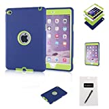 iPad Mini 4 Case,MAKEIT 3in 1 Heavy Duty Defender Full-body Protection Combo Hybrid Impact Silicone Hard Case Cover for Apple Ipad Mini 4 (Purplish blue/Fluorescent green)