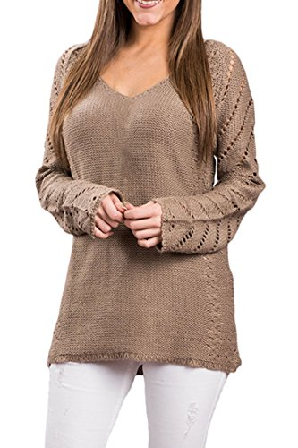 Sovoyant Women's Oversized Knitted Baggy Pullover Sweater,Loose Long Sleeve,Deep V-Neck,Hollow - Wide Sleeve Sweater
