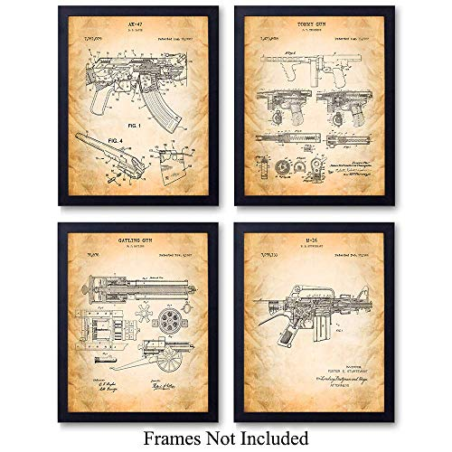 (Famous Automatic Weapons Wall Art Patent Prints - Unframed Set of Four - Great Gift for Gun and Firearm Enthusiasts - Man Cave Home Decor - Ready to Frame (8x10) Vintage Photos)