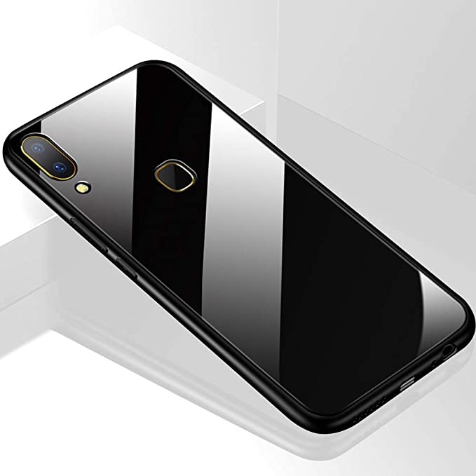 Thegiftkart Luxurious Toughened Glass Back Case With Shockproof Tpu