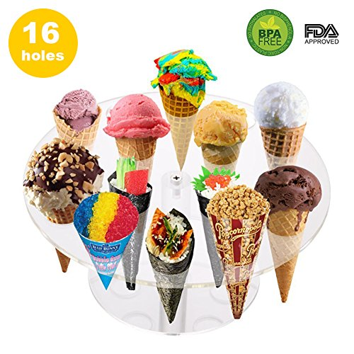 Magnet 16 Sweet (16 Holes Round Acrylic Cone Rack Ice Cream Holder Stand to Display Ice Cream Snow Cone Popcorn Candy French Fries Sweets Savory - Ice Cream Recipe eBook Included)