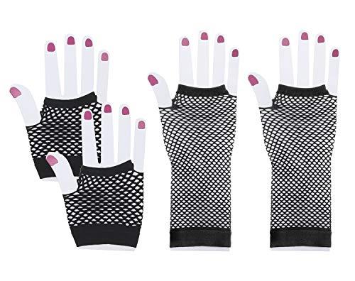 - Penta Angel 2 Pairs Black Nylon Fingerless Fishnet Gloves Elastic Stretch Funky Retro Mesh Wrist Gloves for Women Girls Kids 80s Theme Party Halloween Costume(Long+Short)