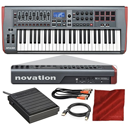 Novation Impulse 49 USB Midi Keyboard Controller with Sustain Pedal + Cables + Fibertique Cloth
