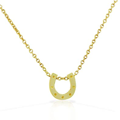 Amazon 925 sterling silver yellow gold tone small horseshoe good 925 sterling silver yellow gold tone small horseshoe good luck pendant necklace mozeypictures Gallery