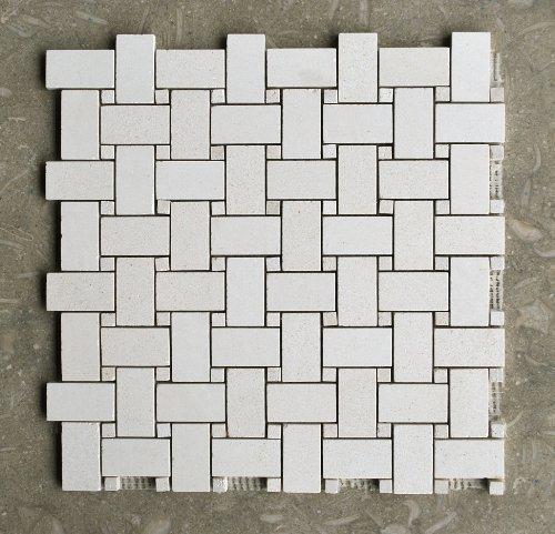 Champagne Limestone Basketweave Mosaic Monochrome