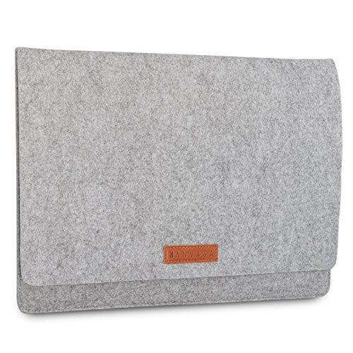 """KANVASA Felt Laptop Sleeve 11-11.6"""" & 12 Inch for MacBook Pro 13 Late 2016 Surface Pro 3 & 4 MacBook Air 11"""" MacBook 12"""" Dell XPS 13 HP & More - Premium Ultrabook Bag Case Grey With Brown Leather"""