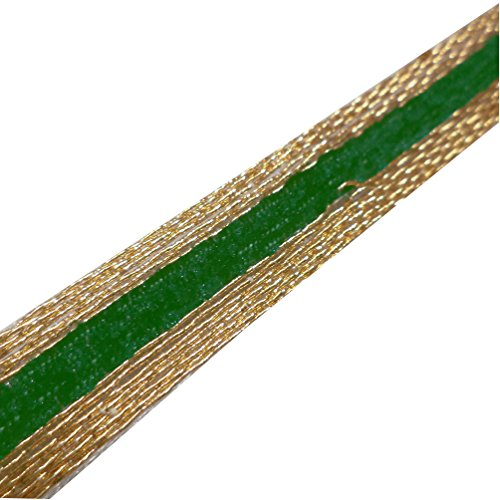 Indian Metallic Gold Green Velvet Thin Ribbon Traditional Trim Border Sewing Lace Crafted 4 Yd