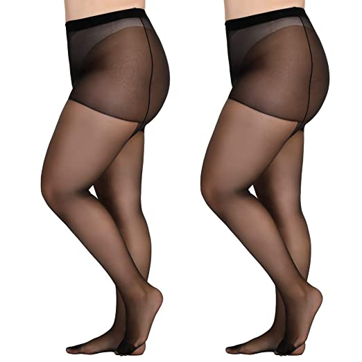 2c94e93b47a Aeakey Women s plus size tights High-waisted Tight Stockings Pantyhose 60D  Soft Solid Color Semi Opaque Footed Tights at Amazon Women s Clothing store