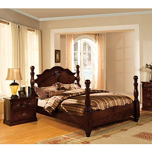 (Furniture of America Weston Traditional 2-Piece Glossy Dark Pine Poster Bedroom Set Brown Queen)