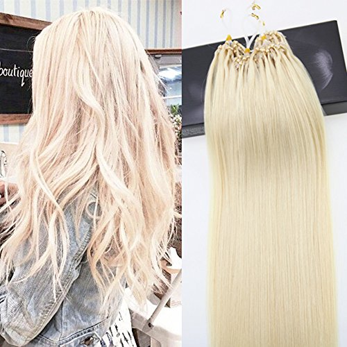 LaaVoo Micro Beads Hair Extensions Remy Hair Platinum Blonde 1g/s 50 Strands Micro Loop Straight Hair Extensions 20