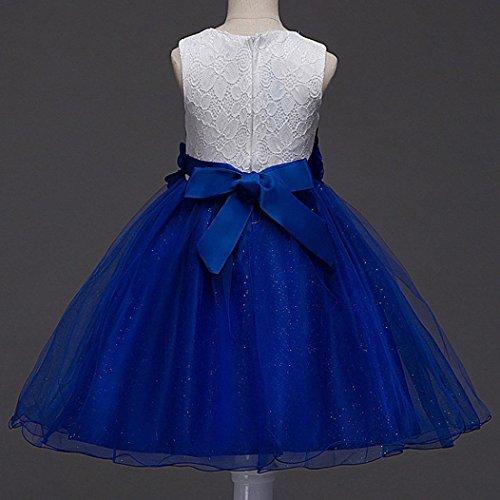 Kindermode Mädchen Kleider Festliche Kinderkleider Longra Blumenmädchenkleid A-Linie Tüll Hochzeit Mädchen Kleid mit Spitzen Prinzessin Tutu Kleid Kinderkleid Partykleid Blue