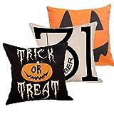 #9: Decemter Halloween Trick or Treat Cotton Linen Throw Pillow Covers Decorative Cushion Cover Set