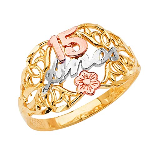 Ioka -14K Solid Tri Color Gold Sweet 15 Anos 15 Years Birthday Quinceanera Flower Ring - size 7 ()