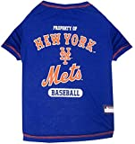 MLB NEW YORK METS Dog T-Shirt, X-Small. - Licensed Shirt for Pets Team Colored with Team Logos