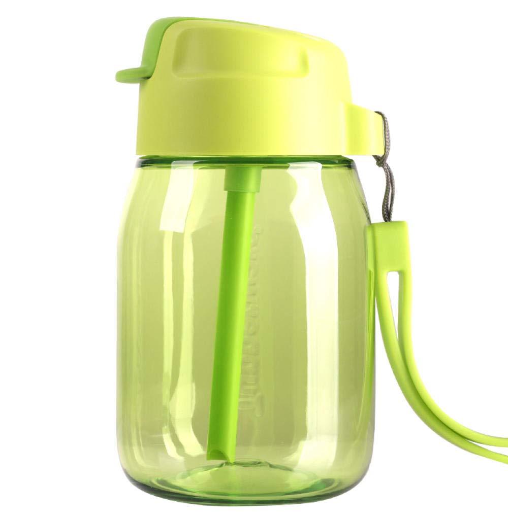 Penguin Cup Plastic Cup 350ml Children Student Cartoon Cute Leak-proof Straw Cup Green Grass Green