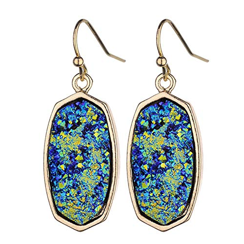(Statement Oval Simulated Druzy Crystal Stone Gold Tone Drop Dangle Earrings for Women and Girls(Galaxy iridescent))
