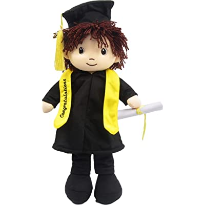 "Linzy Congratulations 17"" Cloth Boy Rag Doll with Graduation Cap & Gown, Brown Hair: Toys & Games"