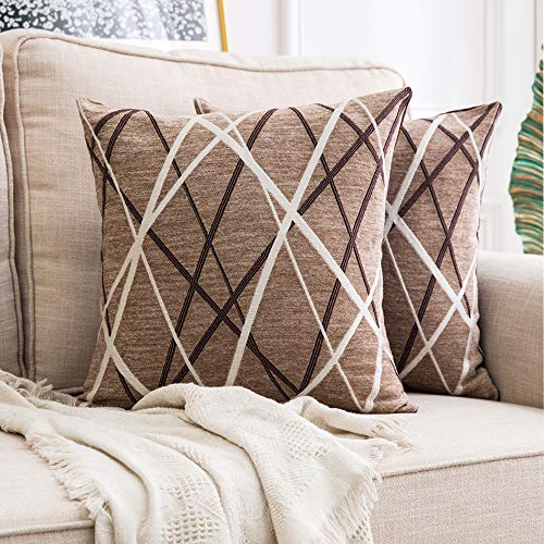 MIULEE Pack of 2 Decorative Throw Pillow Covers Woven Textured Chenille Cozy Modern Concise Soft Light Tan Square Cushion Shams for Bedroom Sofa Car ...