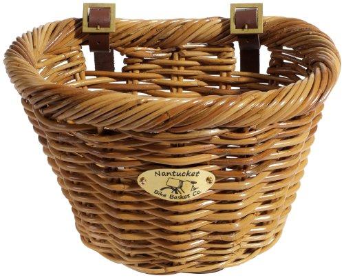 Nantucket Bicycle Basket Co. Cruiser Adult D-shape Basket, Honey