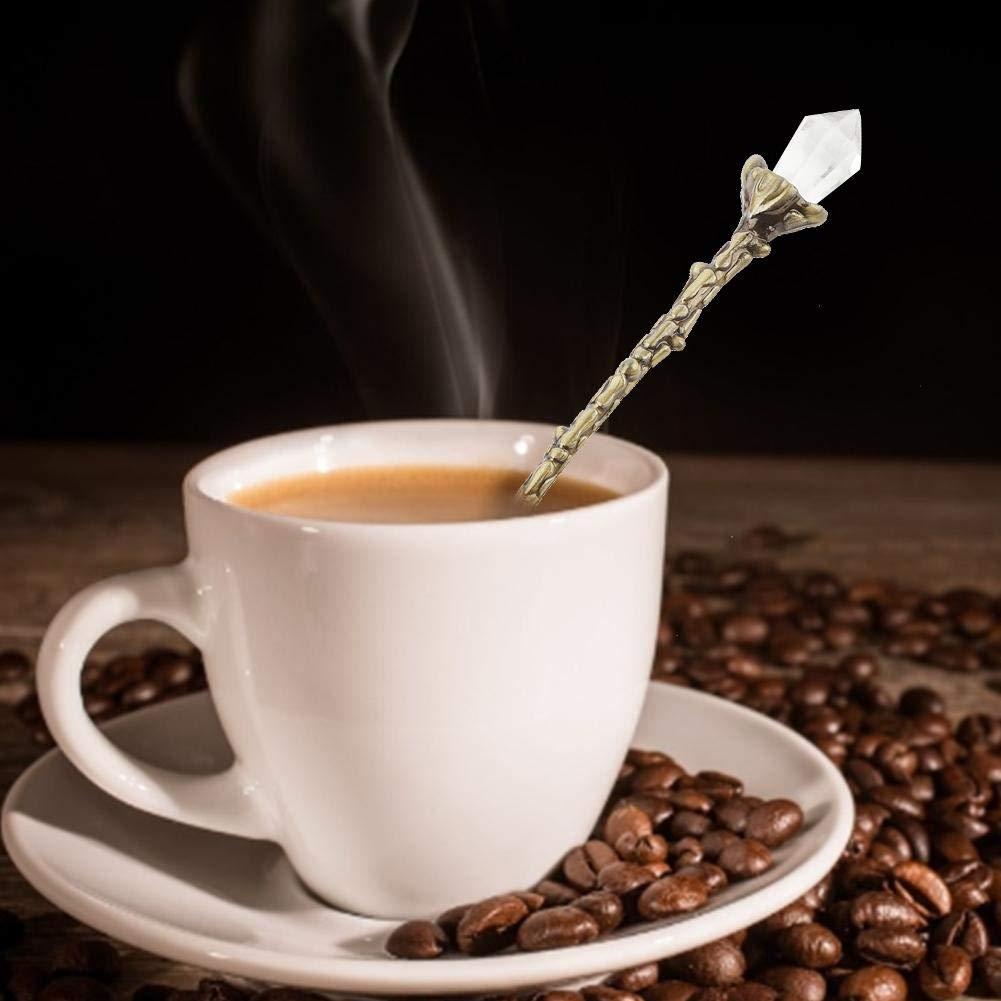 Pasamer Cuchara de caf/é Cuchara Artesanal Vintage Cuchara Estilo Retro Real para caf/é Verde Comedor Desierto vajilla decoraci/ón Dise/ño de Cabeza de Cristal Especial