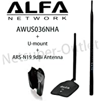 Alfa AWUS036NHA USB Wireless WiFi Network Adapter and ARS-N19 2.4GHz 9dBi Antenna R/P SMA