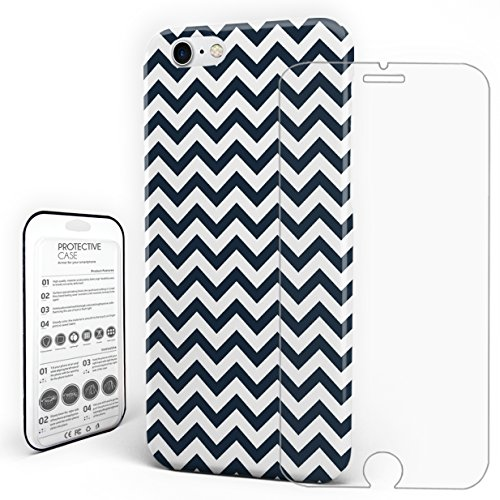 Phone Case Protectivedesign Hard Back Case Dark Blue and White Chevron Zig Zag Compatible Slim Case for iPhone 7/ iPhone 8