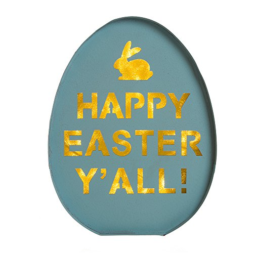 [Glitzhome LED Lighted Iron Egg Sign Easter Wall Decor Battery Operated Blue] (Halloween Decorations New York)