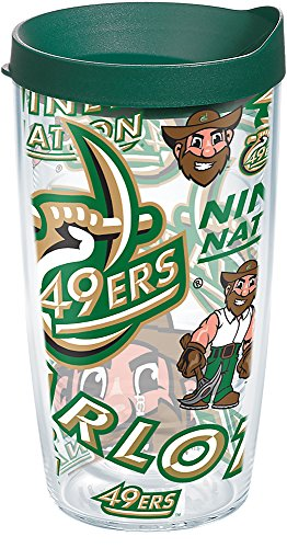 Tervis 1271453 Charlotte 49ers All Over Tumbler with Wrap and Hunter Green Lid 16oz, Clear ()