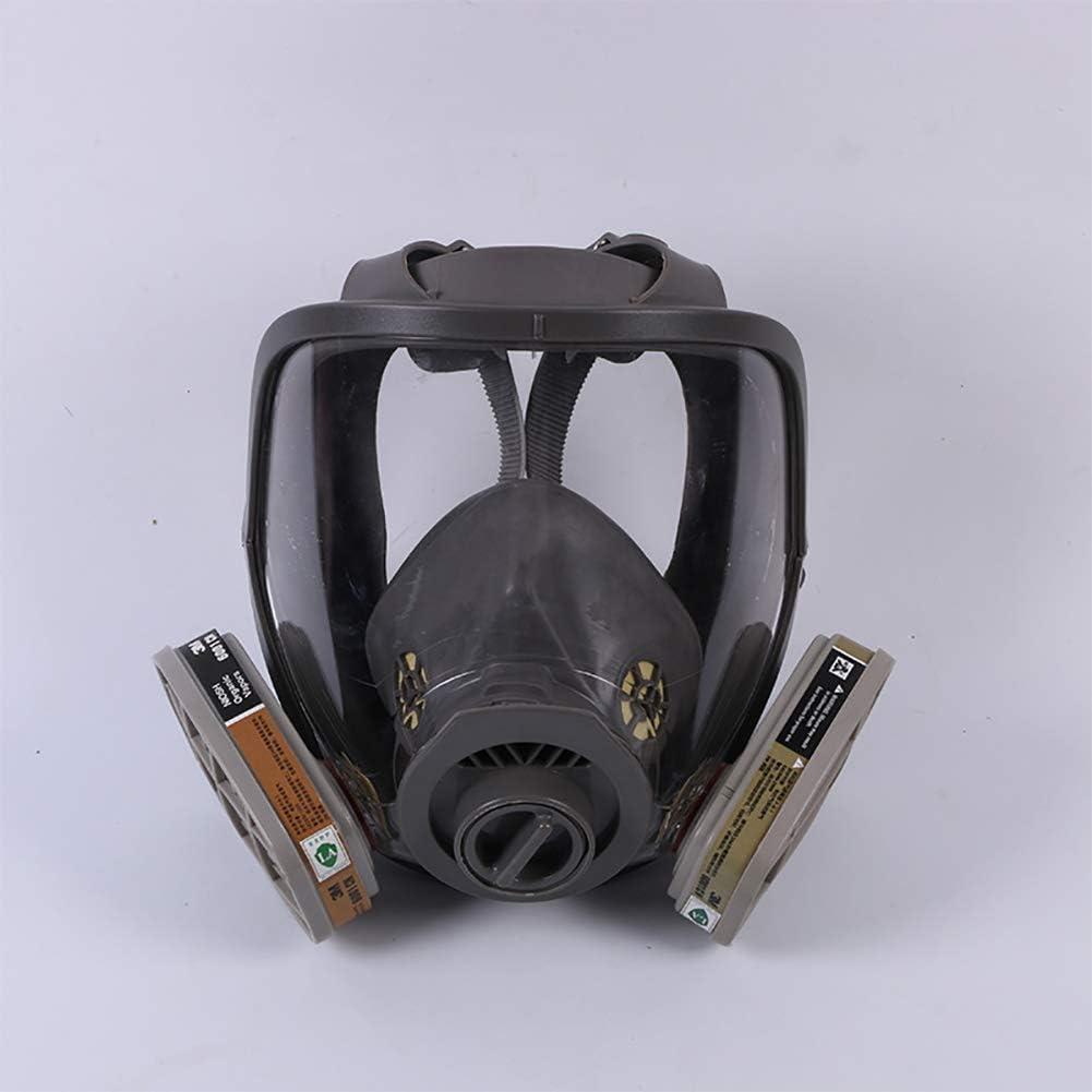 Cara Completa Silicona Filtro Pintura Máscara De Gas Cara Completa Pintura Reutilizable para Trabajo en Aerosol Protección Ante Gases de Incendio vapores y combustión,6800+3m6001