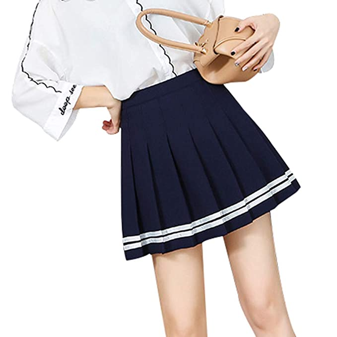 Mxssi Kawaii Vintage para Mujer una Cintura Alta Falda Plisada ...